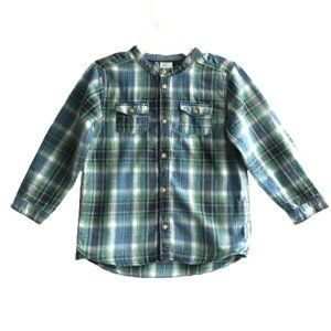 H&M Plaid Band Collar Henley Button Cotton Shirt